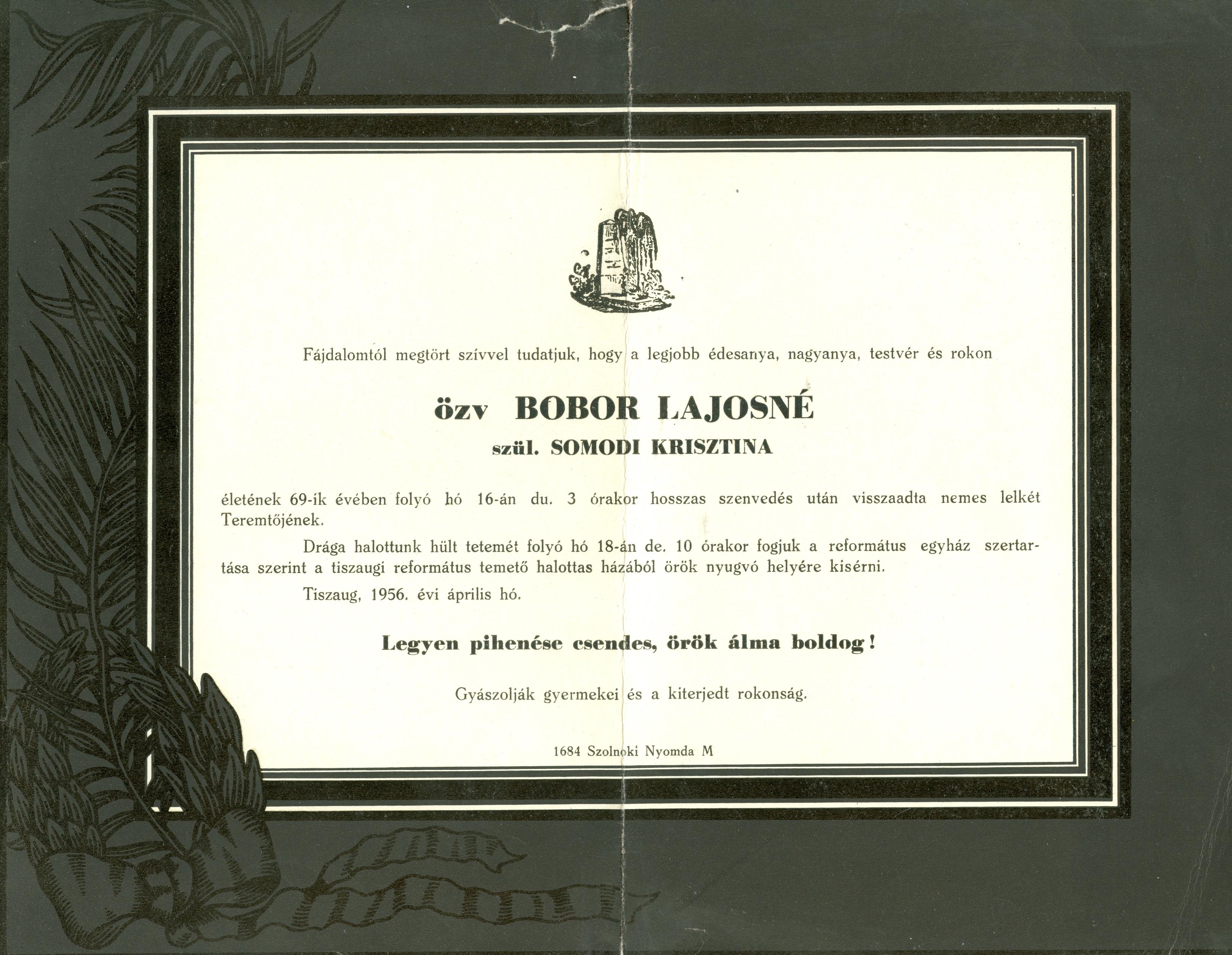 Bobor Lajosné Somodi Krisztina