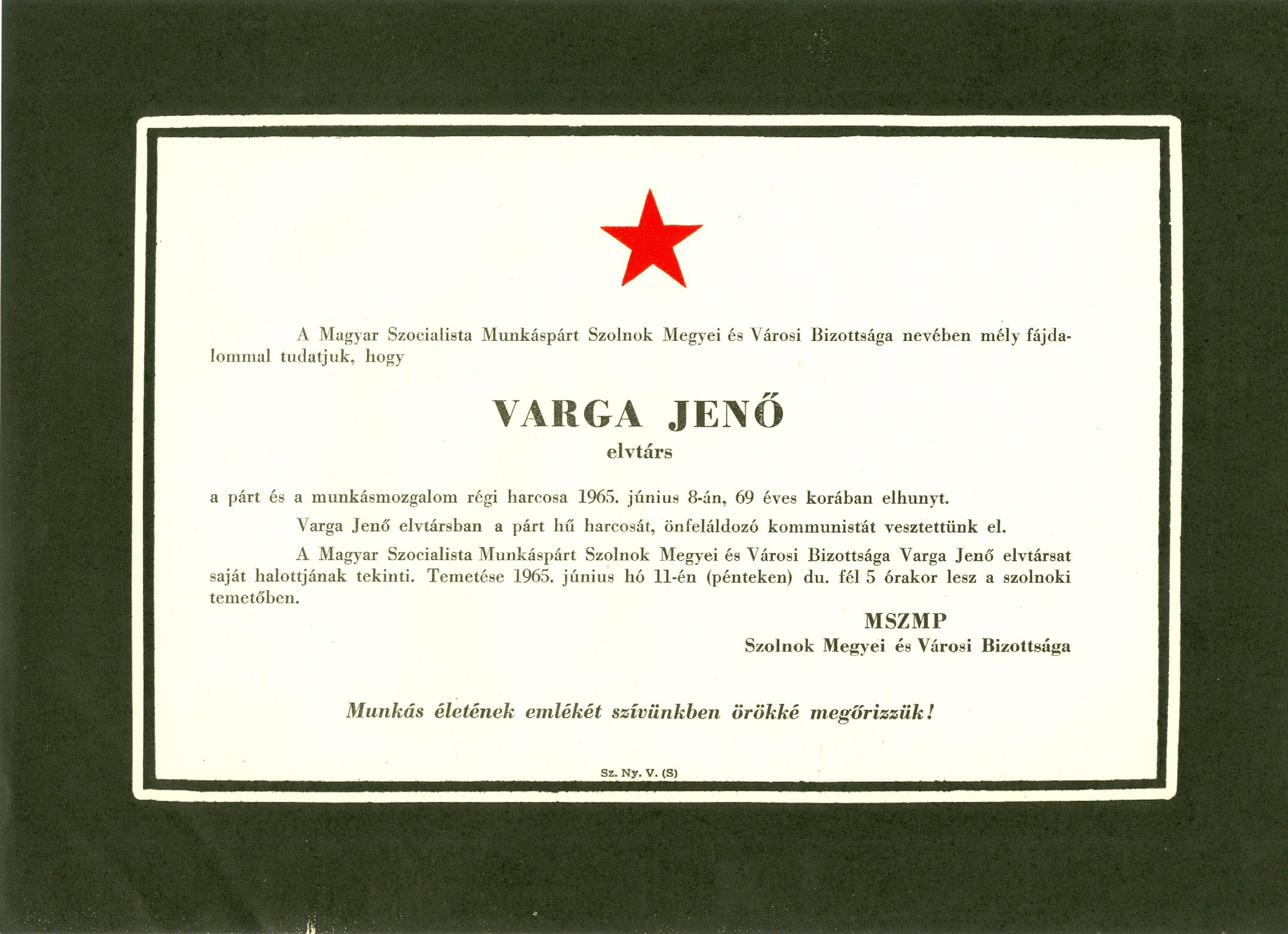 Varga Jenő gyászjelentése