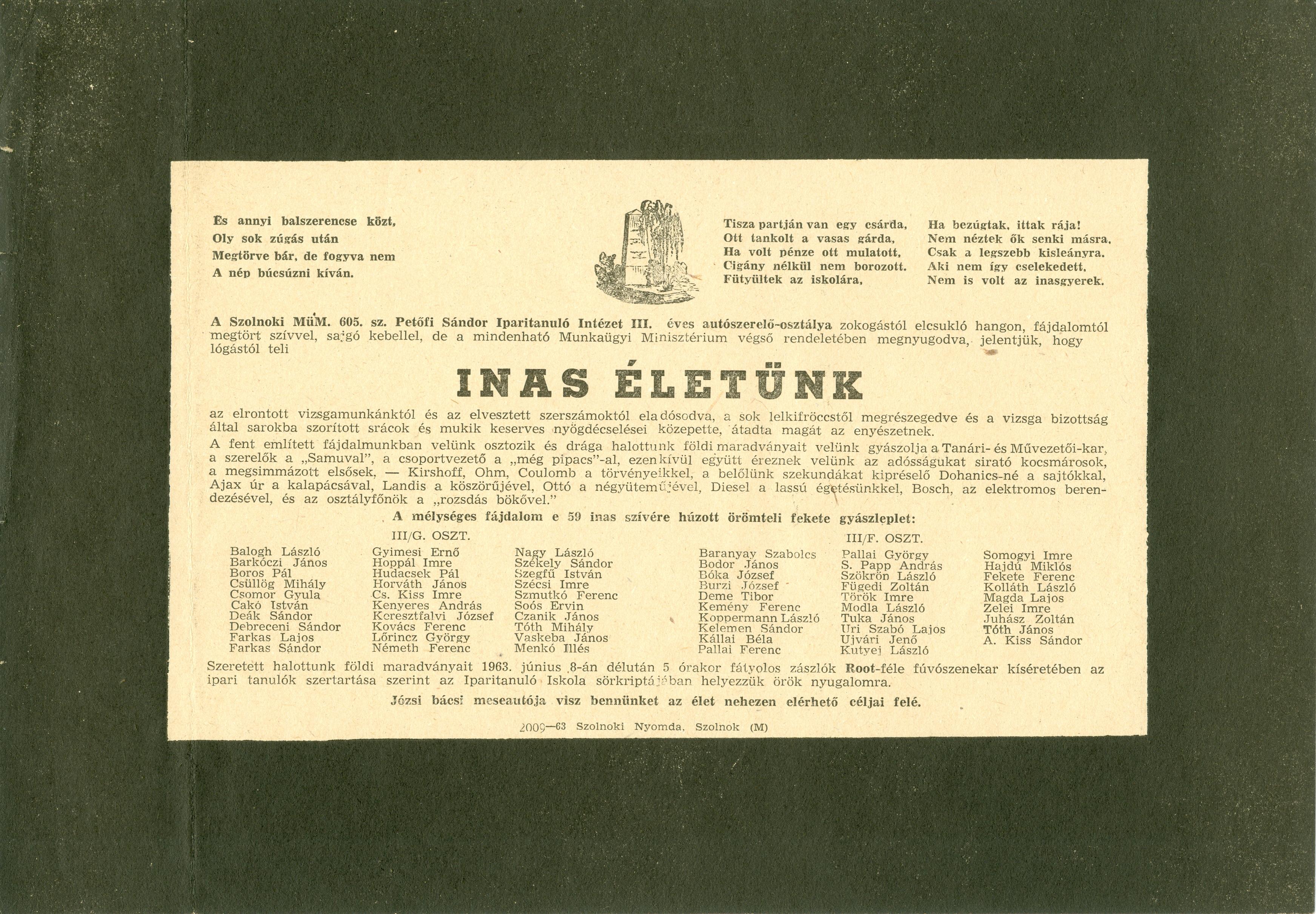 A MÜM. 605. sz. Petőfi Sándor Iparitanuló Intézet ballagási meghívója