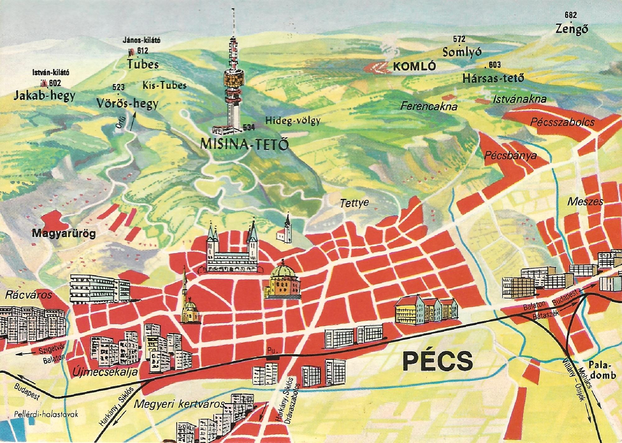 pécs térkép Magyar Nemzeti Digitális Archívum • Pécs térkép képeslap