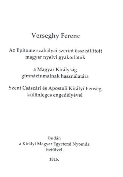 Verseghy Ferenc Epitome