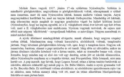 2013. emberi életút - Molnár János