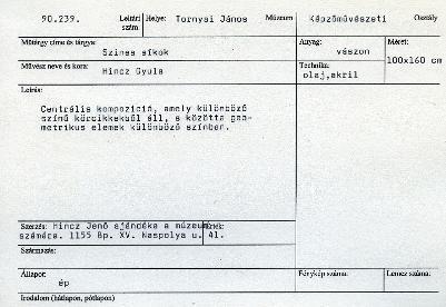 Hincz Gyula: Színes síkok