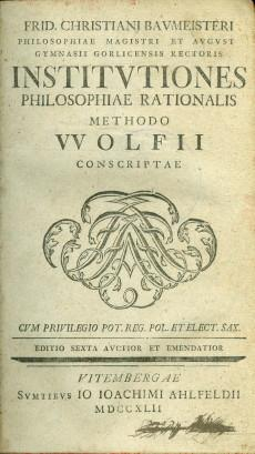 Institutiones philosophiae rationalis methodo Wolfii 1742