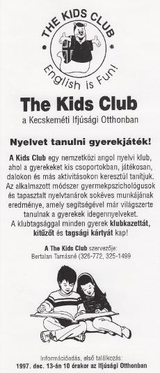 The Kids Club szóróanyaga
