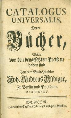 Catalogus universalis Derer Bücher…