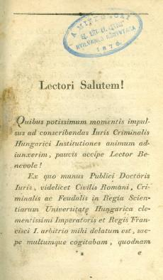 Introductio in Jus Criminale Hungaricum Liber I-II.