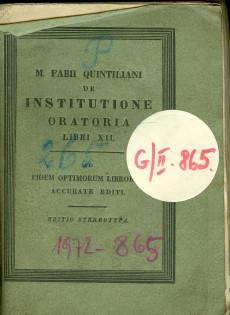 De Institutione Oratoria Libri XII. Tomus II.