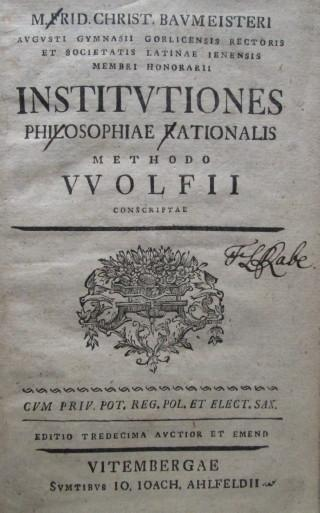 Institutions philisophiae rationalis methodo Wolfii