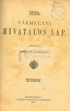 Vármegyei Hivatalos Lap 1904. 5/12