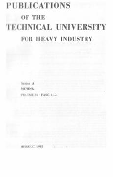 Publications of the Technical University for Heavy Industry 38k Ser.A. Mining