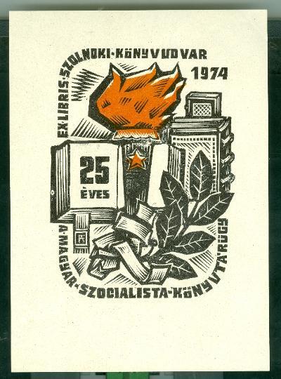Szolnoki Könyvudvar 1974. 25 éves a magyar szocialista könyvtárügy Fery Antal szignált (FA)
