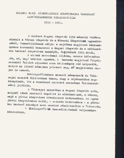 Szolnok megye közművelődési könyvtáraira vonatkozó sajtóközlemények bibliográfiája 1953-1963