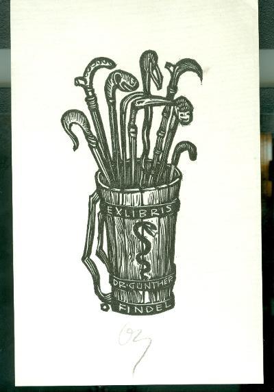 Dr. Günther Findel / Herbert Ott szignált (OTT), ceruzával aláírt kígyó, bot, puttony
