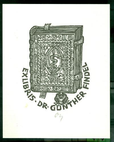 Dr. Günther Findel / Herbert Ott szignált (OTT), ceruzával aláírt kígyó, könyv, szarvas