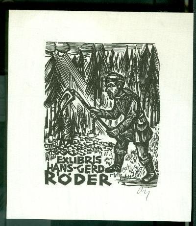 Hans-Gerd Röder Ott, Herbert szignált (OTT), ceruzával aláírt fenyvesek, kapáló férfi