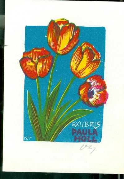 Paula Holl / Herbert Ott színes tulipános álló kép szignálva (OTT), ceruzával aláírva virágok
