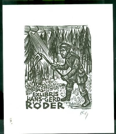 Hans-Gerd Röder szignált (OTT), ceruzával aláírt fenyvesek, kapáló férfi