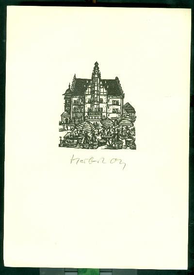 Herbert Ott/Altes Rathaus Schweinfurt szignált (OTT), ceruzával aláírt Schweinfurti régi városháza