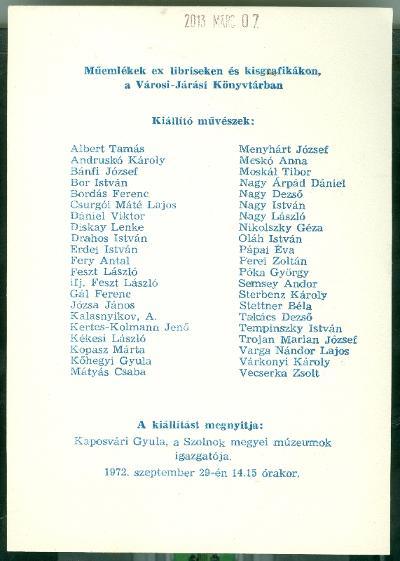 Műemlékek ex libriseken és kisgrafikákon a Városi-Járási Könyvtárban, Jászberény Kaposvári Gyula