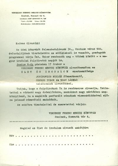 Ünnepi Könyvhét Szolnok 1975 nyomtatólap