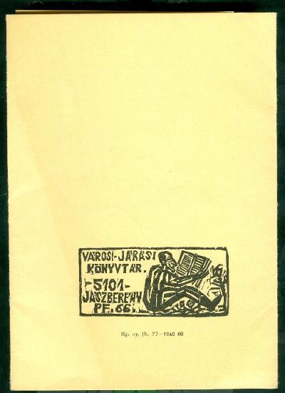 Jászberény Városi és Járási Könyvtár kisebb mappa, amiben 10 db eredeti dúcról nyomtatott metszet van hátlap