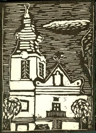 Tomajmonostora, Római Katolikus Templom Magyarország gyermekszemmel linómetszetekben Szávai István és a Szolnoki Metszőkör