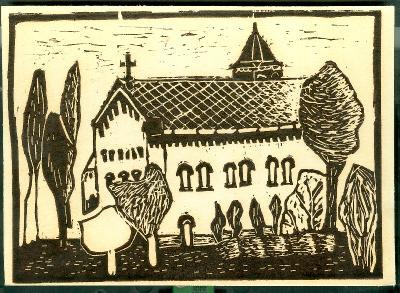 Újszász, Római Katolikus Templom Magyarország gyermekszemmel linómetszetekben Szávai István és a Szolnoki Metszőkör