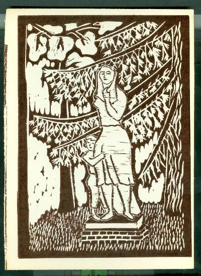Berekfürdő, Anya gyermekével (Somogyi Árpád szobra) Magyarország gyermekszemmel linómetszetekben Szávai István és a Szolnoki Metszőkör