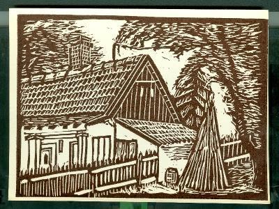 Jászágó, családi ház Magyarország gyermekszemmel linómetszetekben Szávai István és a Szolnoki Metszőkör
