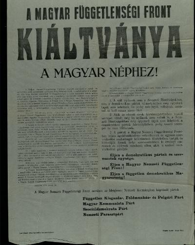 A Magyar Függetlenségi Front kiáltványa a néphez