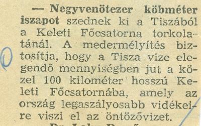 Negyvenötezer köbméter iszapot szedtek ki a Tiszából