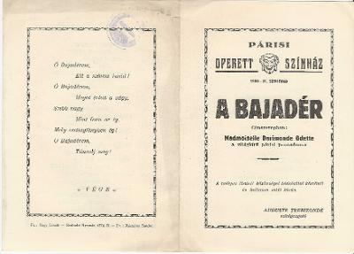Párisi Operett Színház: A Bajadér. Címszerepben Madmoiselle Darimonde Odette