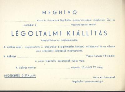 Meghívó Légoltalmi kiállításra