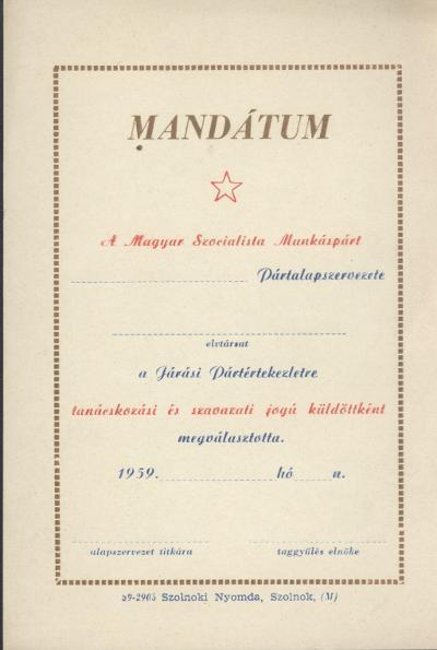MSZMP mandátuma