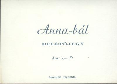 Belépőjegy az Anna bálra