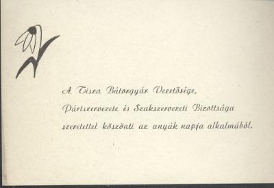 A Tisza Bútorgyár Anyák napi köszöntője