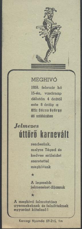 Meghívó jelmezes úttörő karneválra 1959. február 15-re