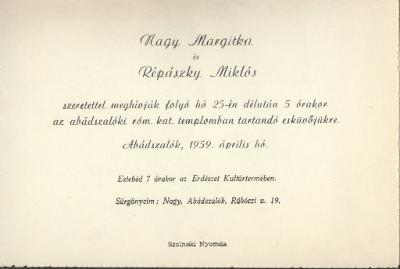Nagy Margitka és Répászky Miklós esküvői meghívója az abádszalóki róm. kat. templomban tartandó esküvőjükre, 1959. április 25-én