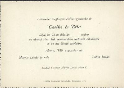 Terike és Béla esküvői meghívója