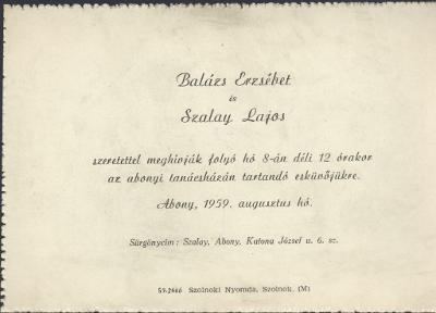 Balázs Erzsébet és Szalay Lajos esküvői meghívója