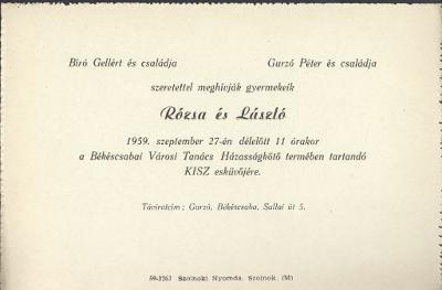 Rózsa és László esküvői meghívója