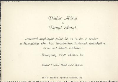 Pádár Mária és Danyi Antal esküvői meghívója