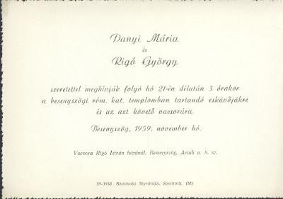 Danyi Mária és Rigó György esküvői meghívója