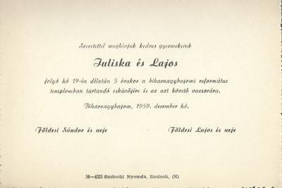 Juliska és Lajos esküvői meghívója