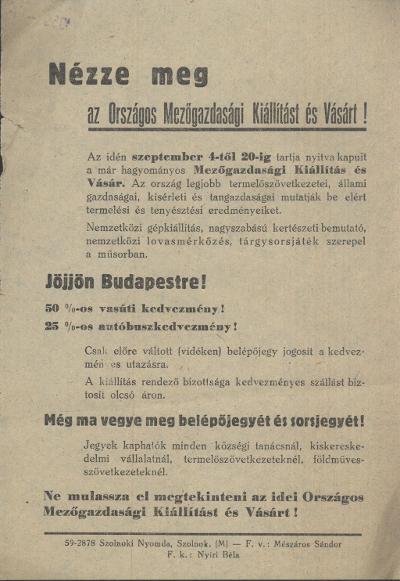 Országos Mezőgazdasági kiállítás és vásár Budapesten, 1959. szeptember 4 és 20 között