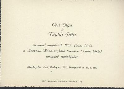 Orsi Olga és Téglás Péter esküvői meghívója