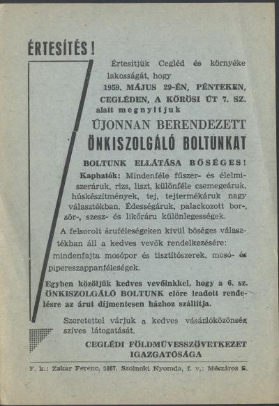 Értesítés önkiszolgáló bolt megnyitásáról Cegléden a Kőrösi út 7. szám alatt