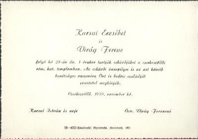 Karsai Erzsébet és Virág Ferenc esküvői meghívója