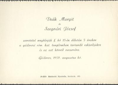 Deák Margit és Szegvári József esküvői meghívója